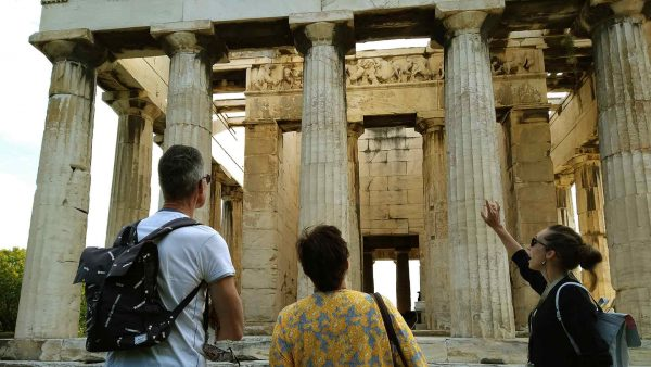 Temple of Hephaestus in Ancient Agora with a group